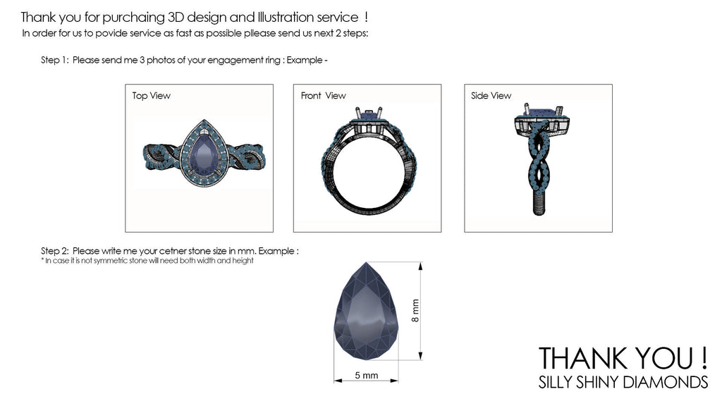 Match my engagement ring a wedding ring that will fit - Will this wedding ring fit my engagement ring? Jewelry Design & 3D Modeling Service