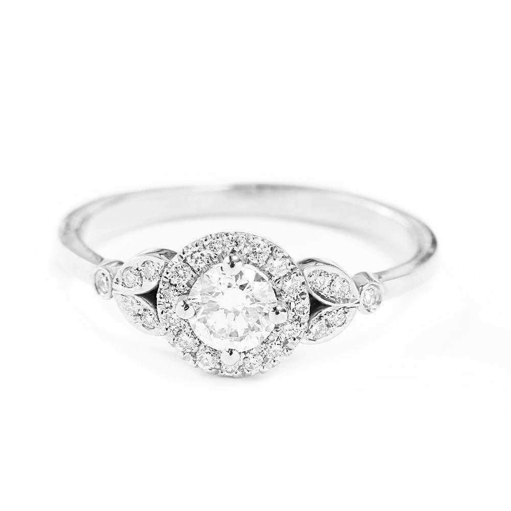 Rome Crown - Diamond Halo Engagement Ring - sillyshinydiamonds