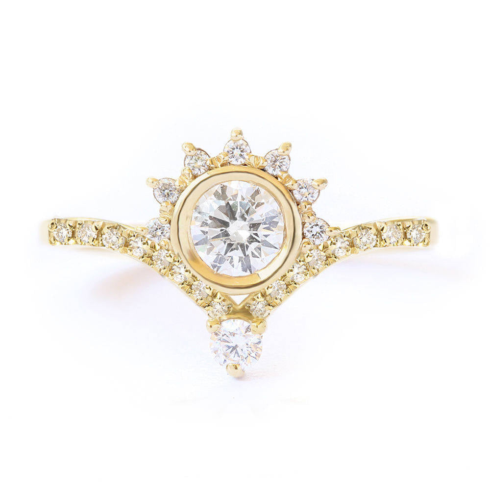 Valentia Eternity Crown 0.45ct, Unique Diamond Engagement ring - sillyshinydiamonds