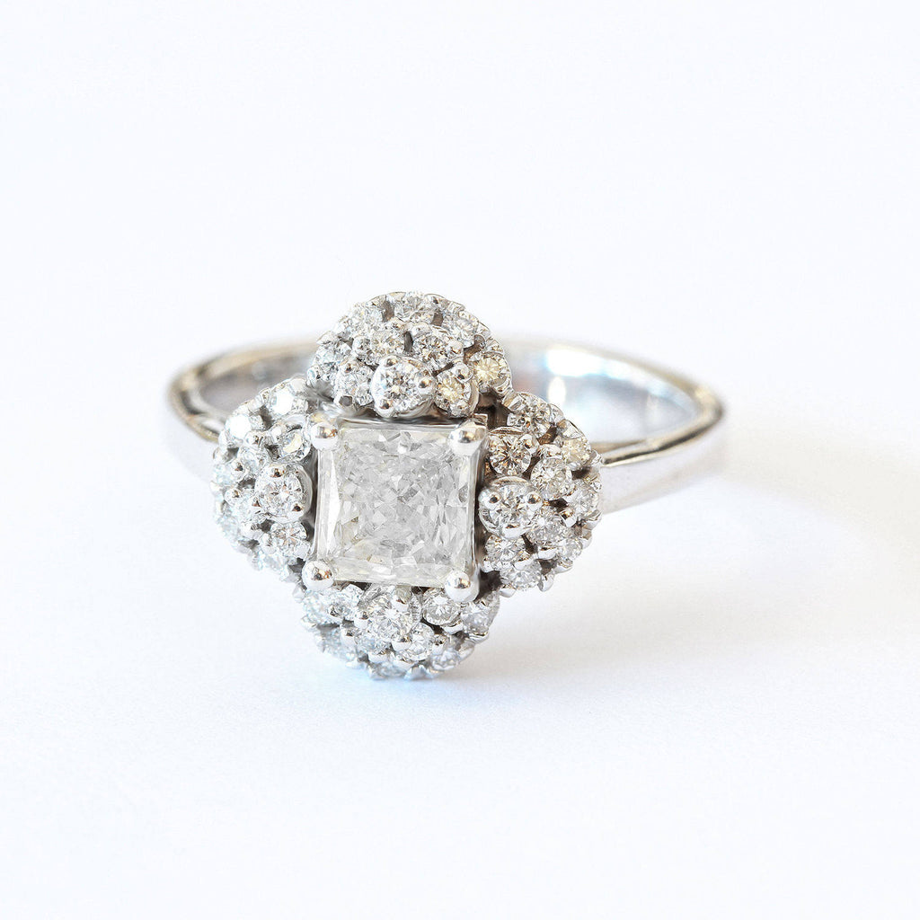 Asteroid Princess cut unique Engagement Ring
