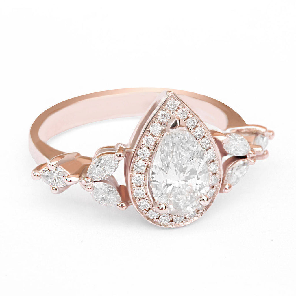 Muse - 1.48 Carat Pear Diamond Unique Engagement Ring - sillyshinydiamonds
