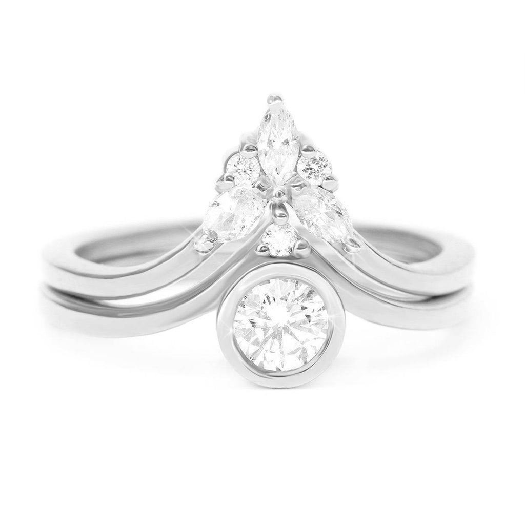 Bindi Diamond Engagement Ring & Marquise Side Band Cupid Wings, Bridal Set