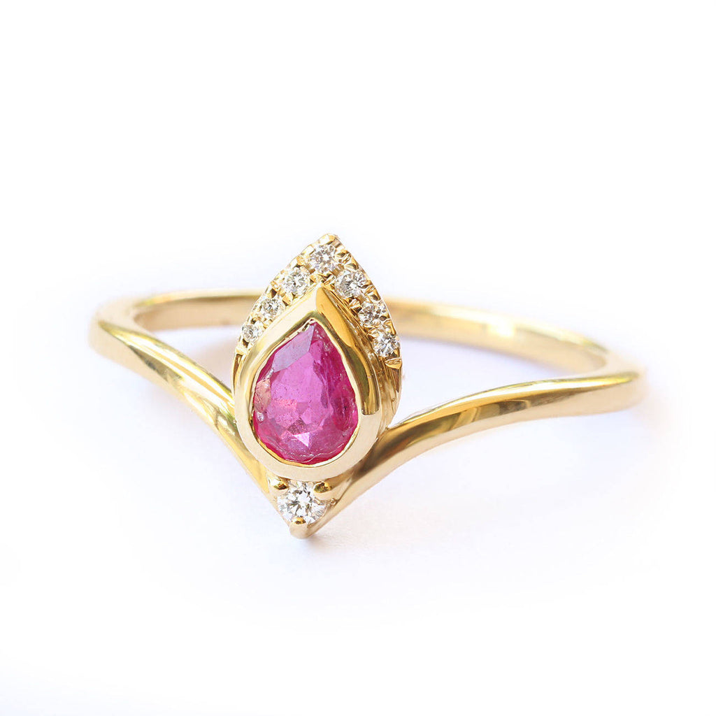 Pear Ruby Gemstone Engagement  Hindi Ring - Atyasha - sillyshinydiamonds