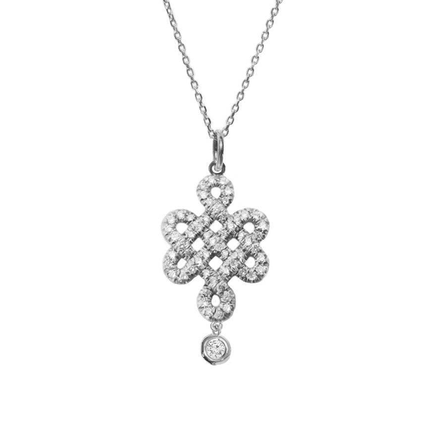 Tibetan Endless love knot Diamond Drop Pendant Necklace - sillyshinydiamonds