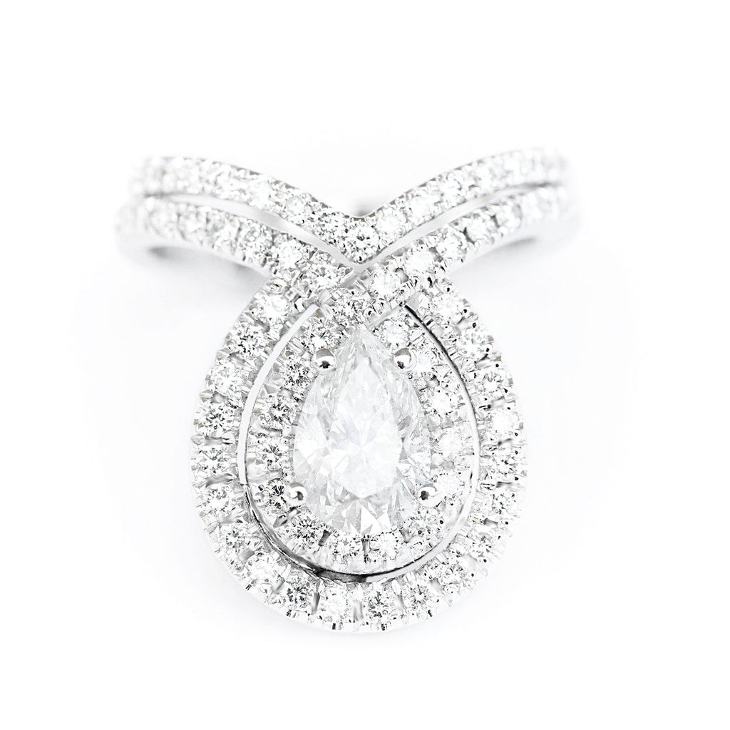 Double Bliss Pear Diamond Eagagement Rings set - sillyshinydiamonds