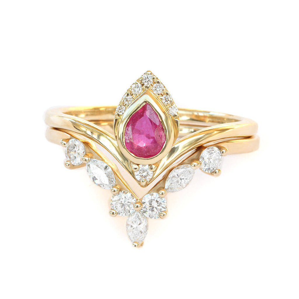 Atyasha & Hermes Pear Ruby & diamonds - engagement rings set - sillyshinydiamonds