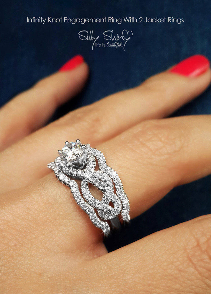 Infinity Knot Unique Three Engagement Rings Set - sillyshinydiamonds
