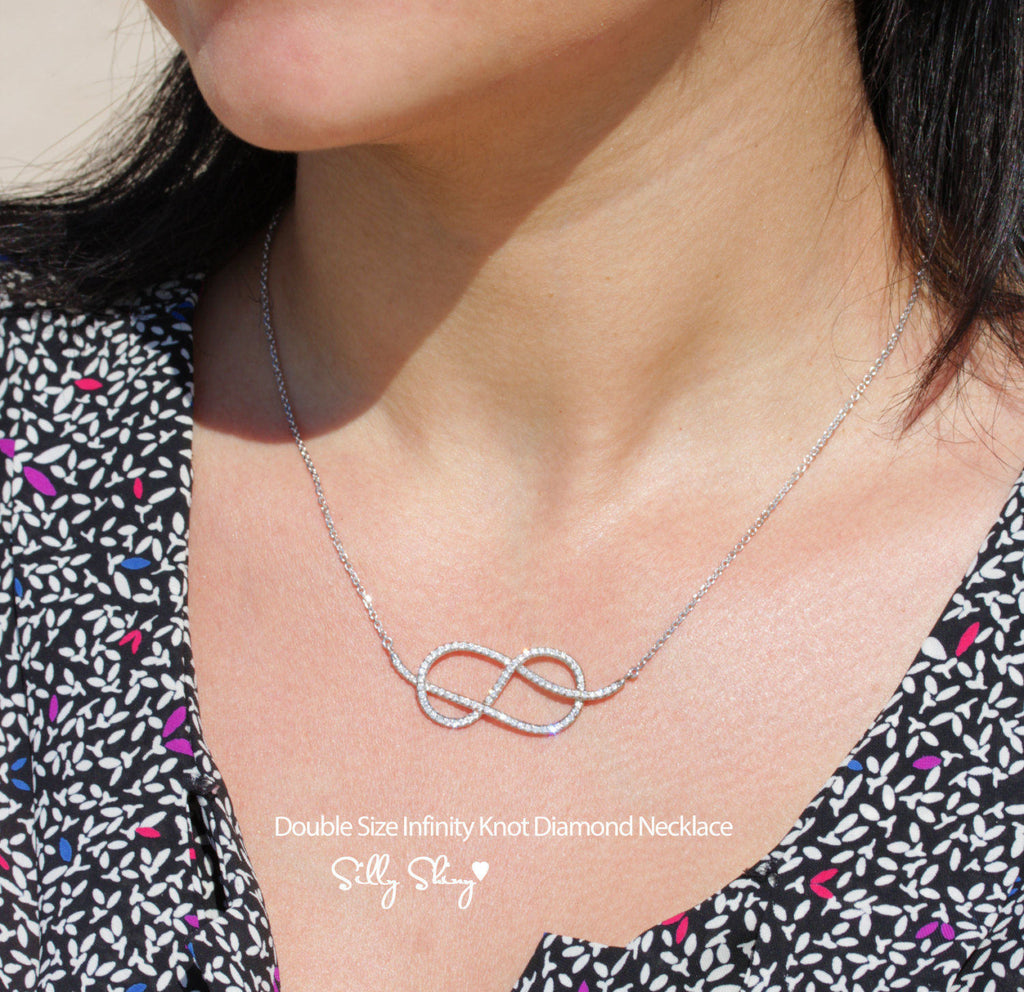 Large Infinity Knot Diamond Necklace - sillyshinydiamonds