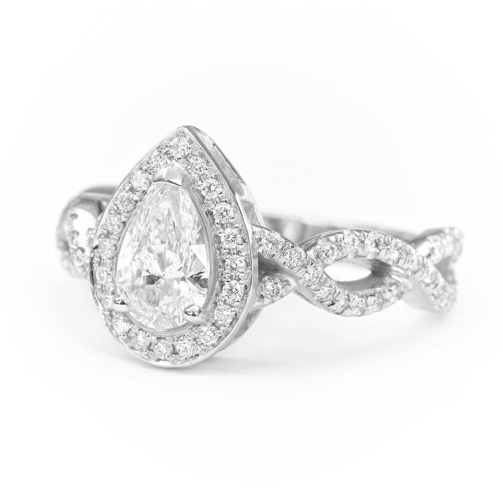Pear Diamond Halo Engagement Ring  Infinity Twist Band.