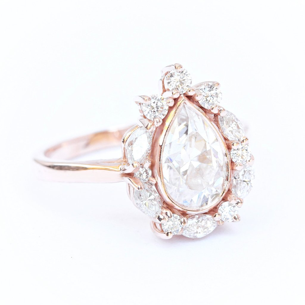 Pear Moissanite & Unique Diamonds Halo Engagement Ring Ballerina - sillyshinydiamonds