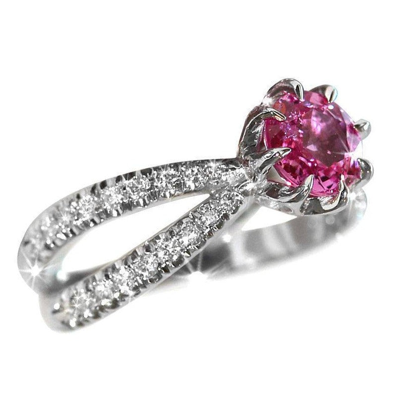 Pink Tourmaline & Diamonds Engagement Ring - sillyshinydiamonds
