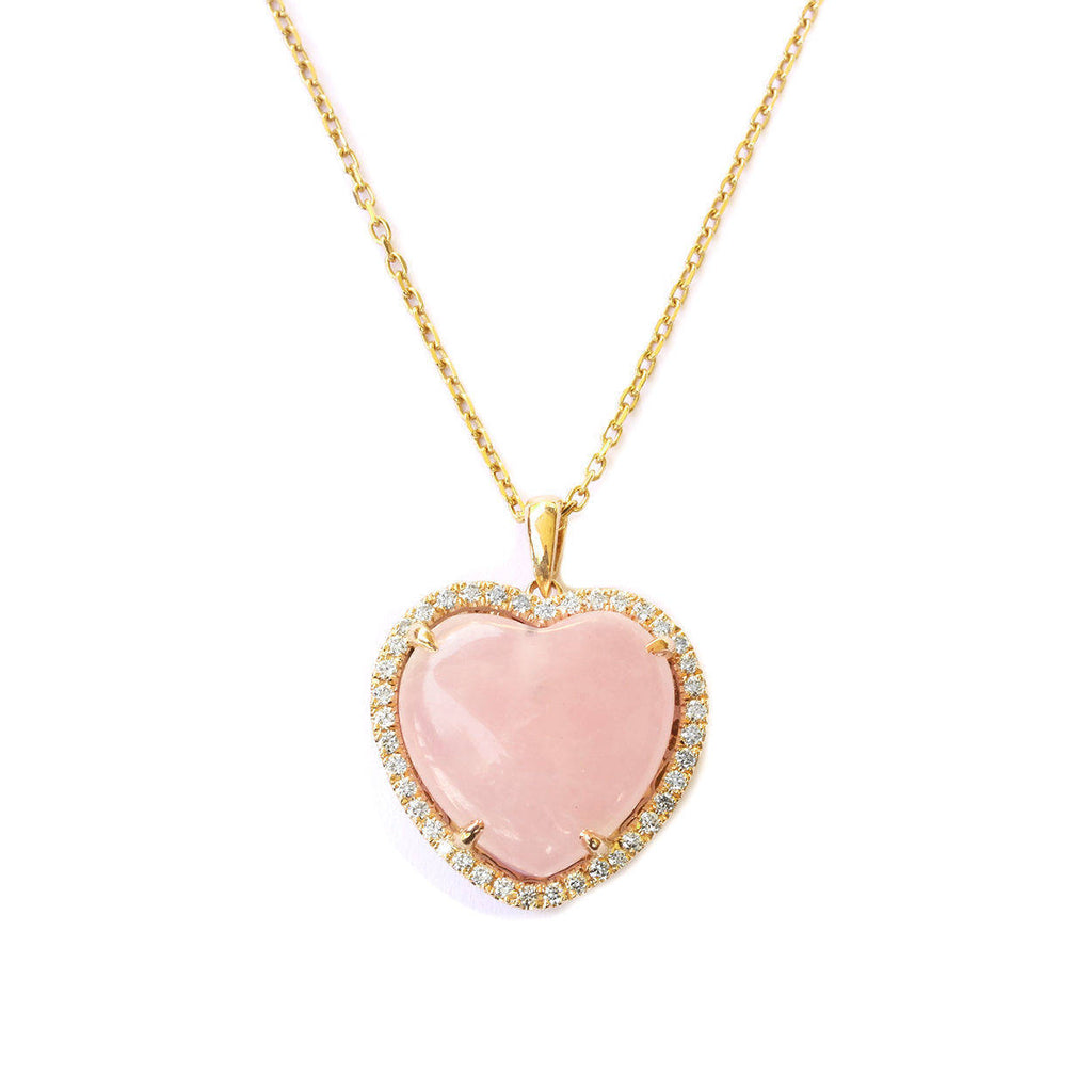 Aphrodite Rose Quartz Heart & Diamond Halo Pendant Necklace - sillyshinydiamonds