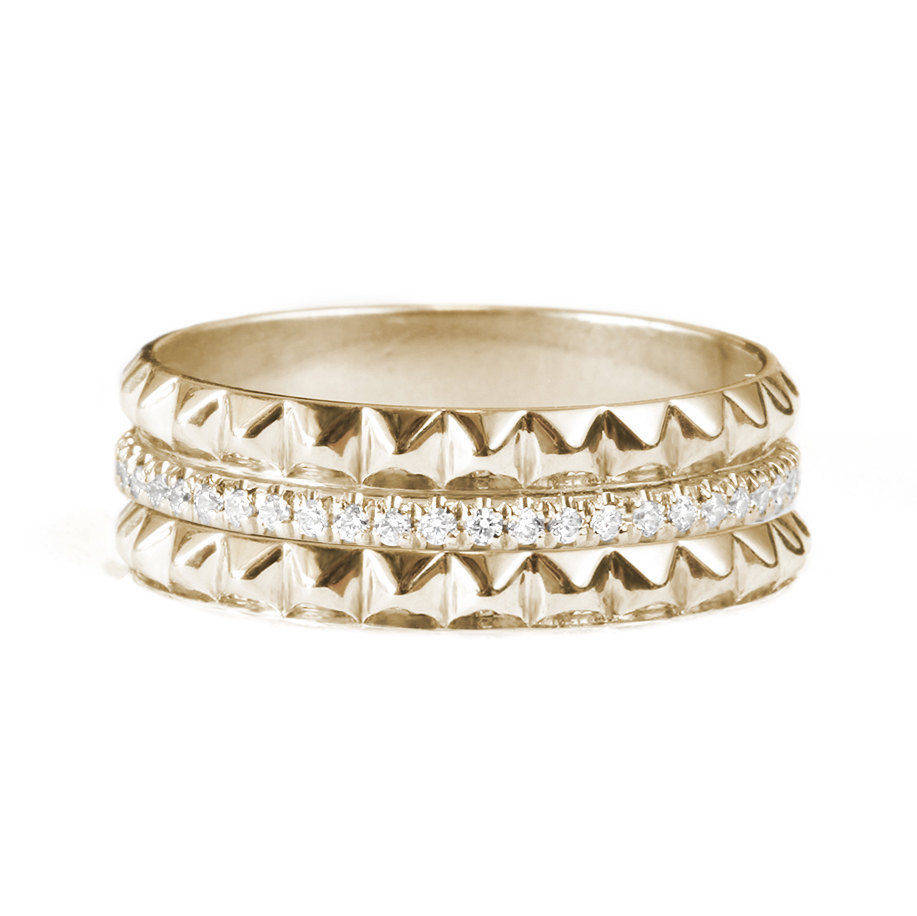 Gold & Diamonds Pyramid Eternity Diamond Ring - sillyshinydiamonds