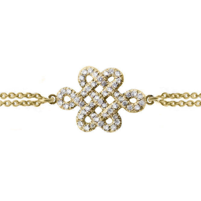 Endless Love Knot Diamond Bracelet, 14K Yellow Gold, 16cm - sillyshinydiamonds