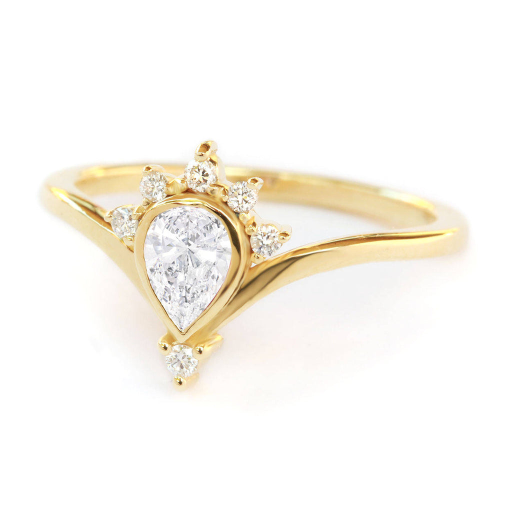 Valentia Pear Diamond Unique Chevron Engagement Ring - sillyshinydiamonds