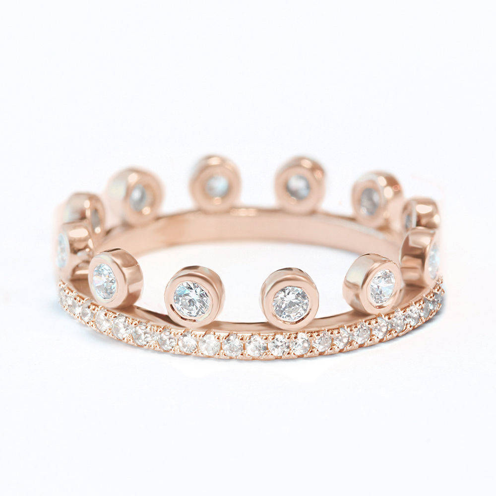 Tiara Crown Unique Eternity Diamond Wedding Ring