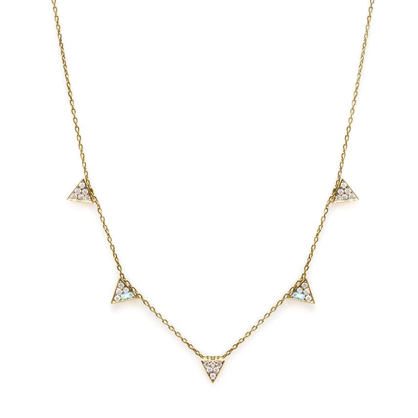 5 Diamonds Triangles Necklace