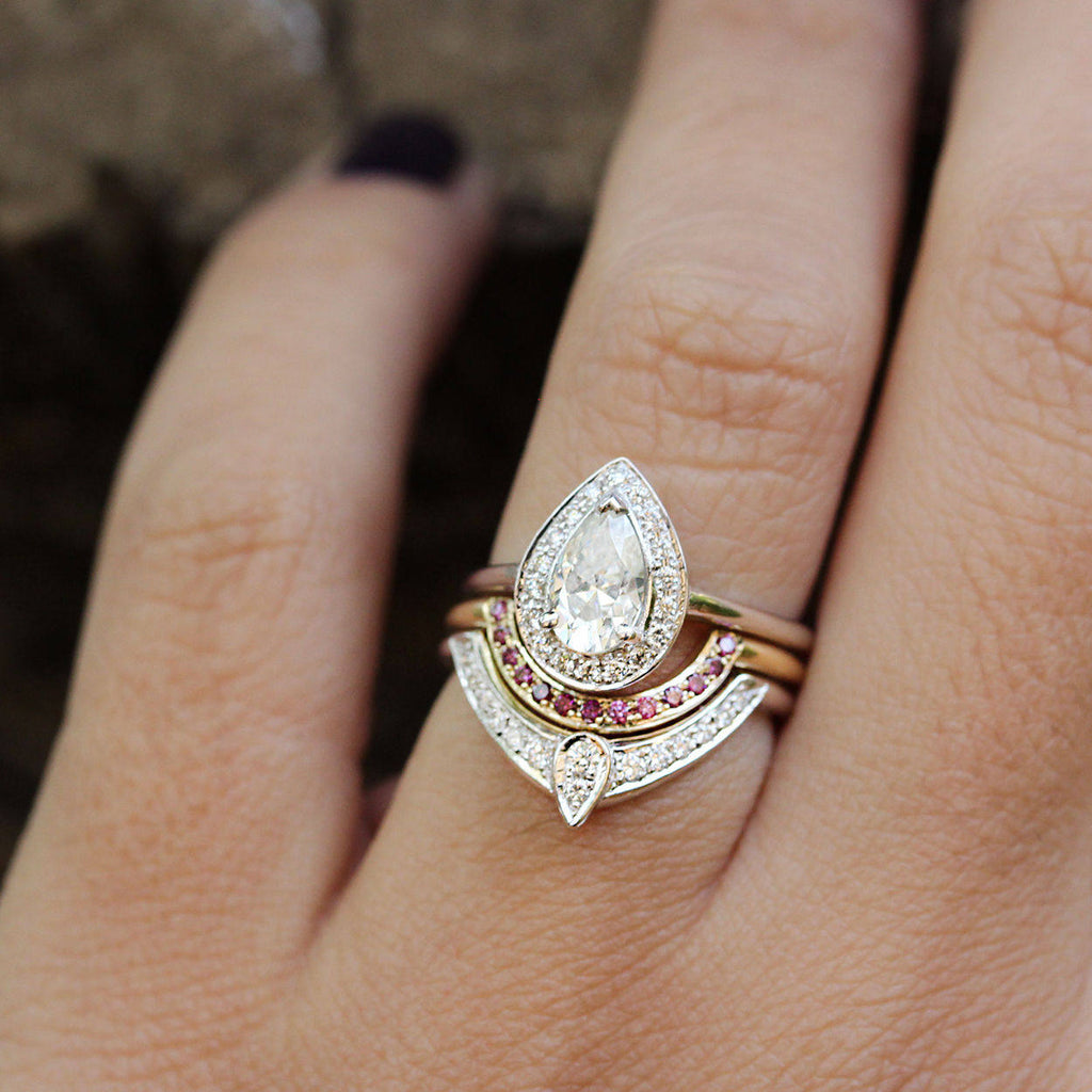 The 3rd Eye Trio Pear Diamond Engagement Rings Set - sillyshinydiamonds