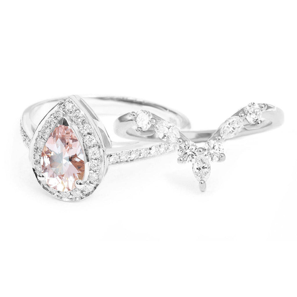 Nia & Hermes - Pear Morganite & Diamond Halo Ceremonial Ring set