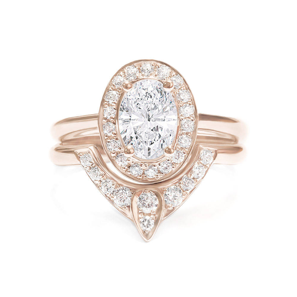 Oval Diamond 1.1ct Unique Engagement Rings Set, The 3rd Eye