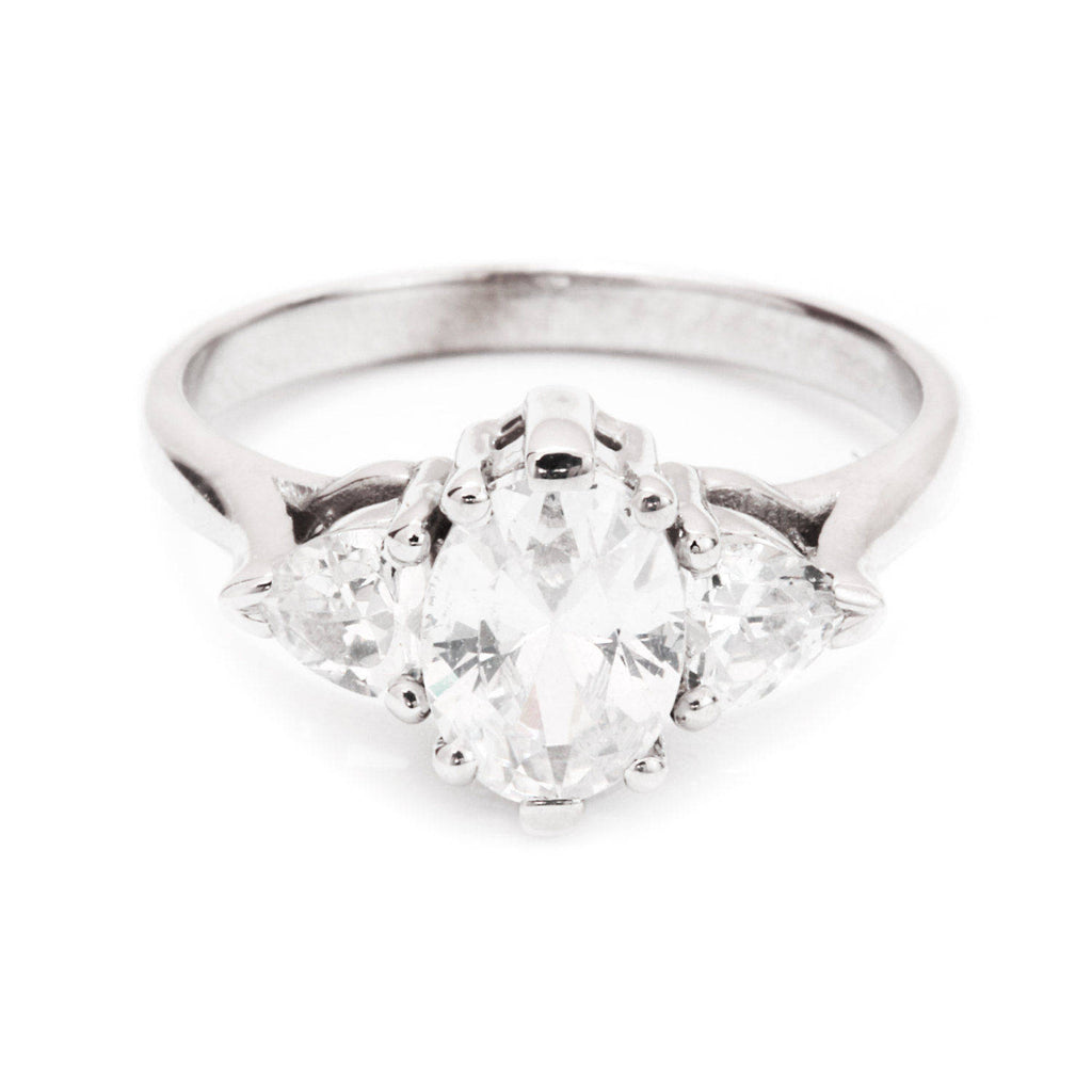 Oval Diamond Three Stone Diamond Engagement Ring - sillyshinydiamonds
