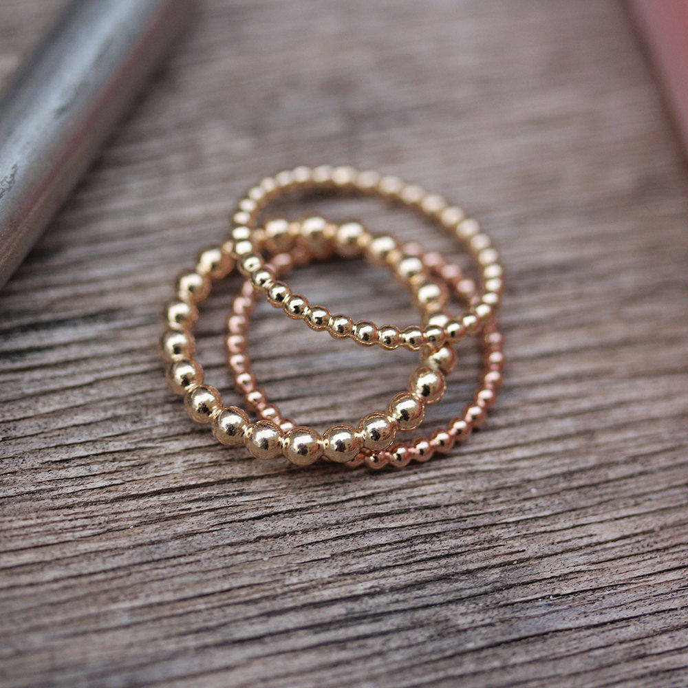 Bubbles Beads Gold Wedding Ring