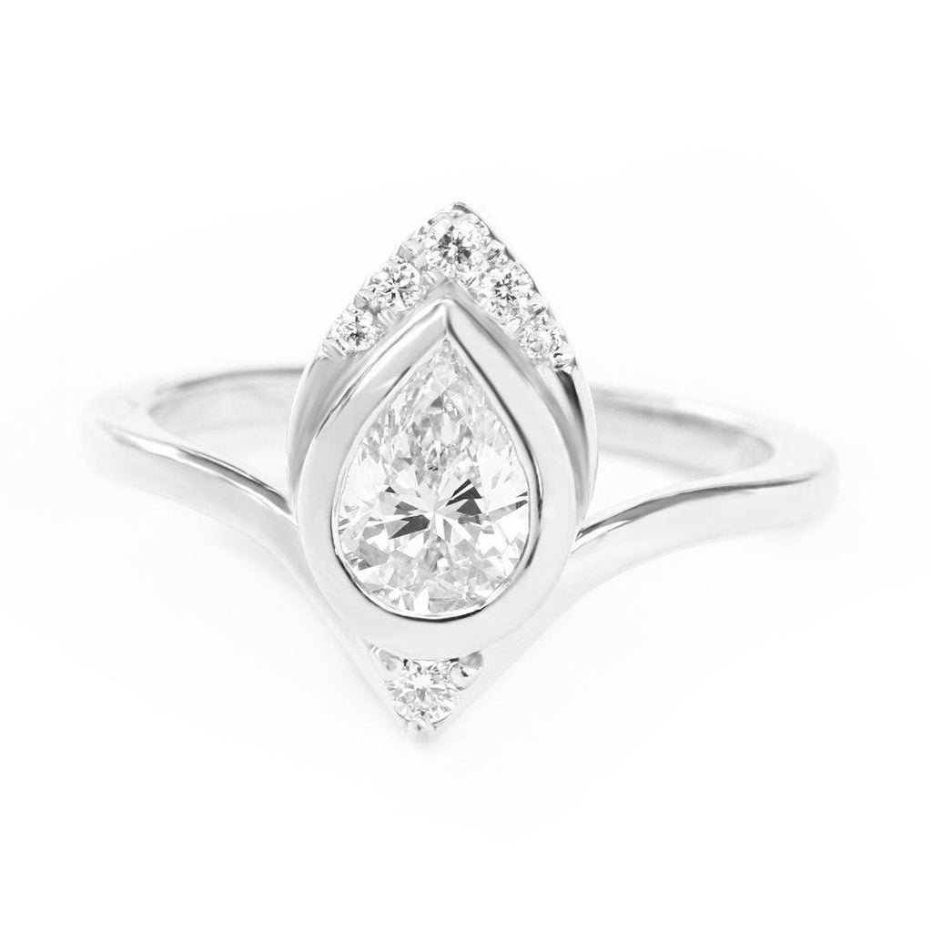 Pear Diamond Unique Engagement Ring Atyasha - sillyshinydiamonds