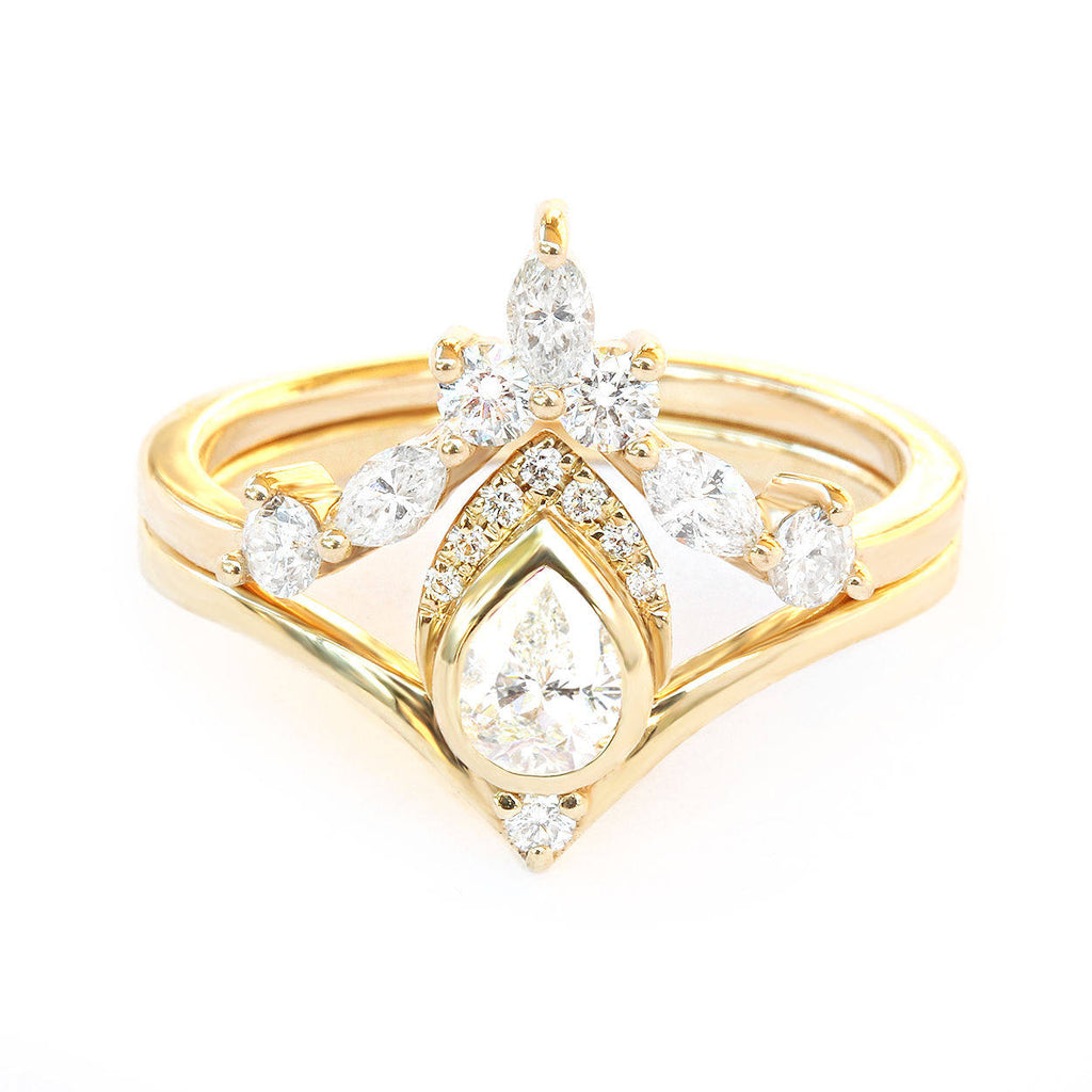 Pear Diamond Unique Chevron Engagement Set, Atyasha + Hermes