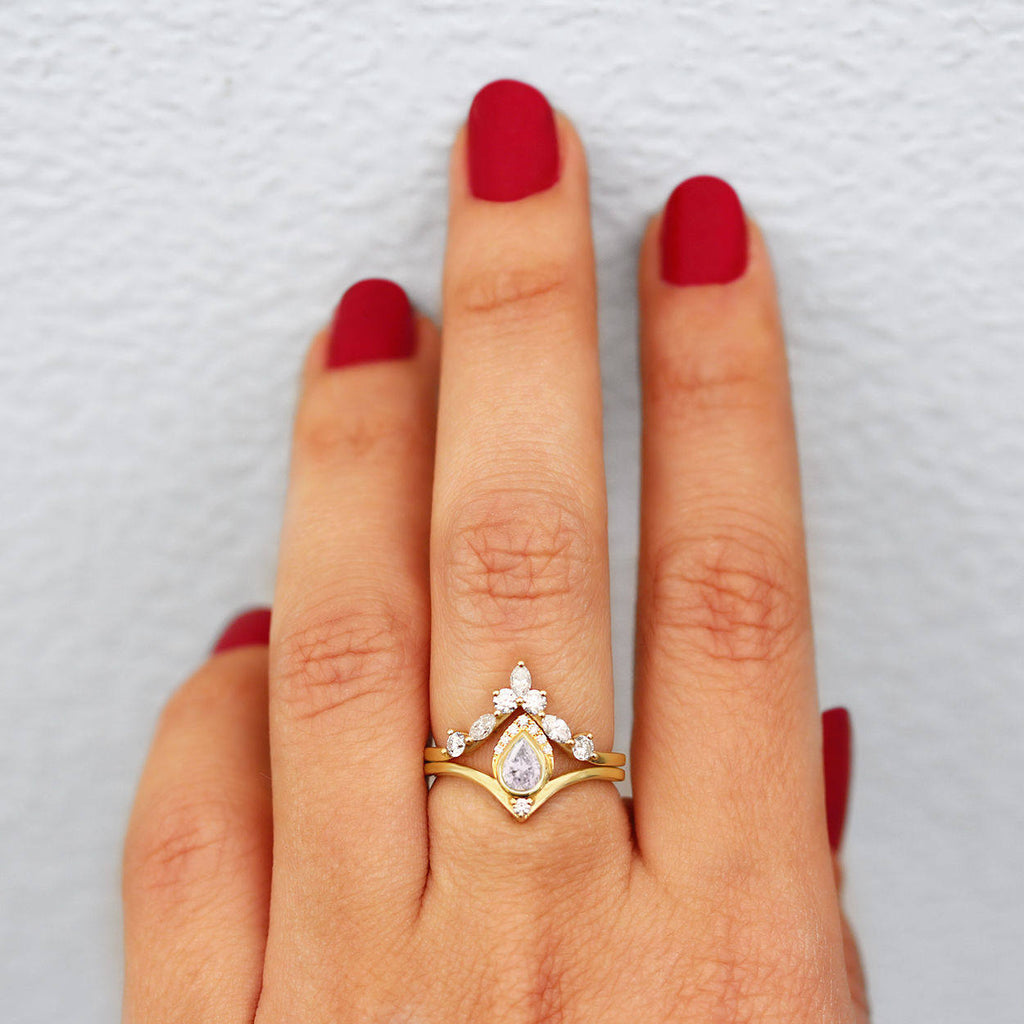 Pear Diamond Unique Chevron Engagement Set, Atyasha + Hermes - sillyshinydiamonds
