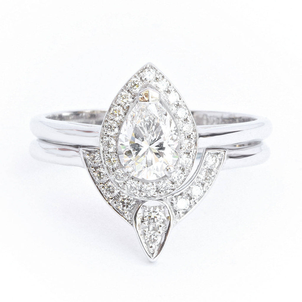 Pear Diamond Halo Wedding Ring Set - The 3rd Eye. Center 0.5 carat. TDW  0.7 carat