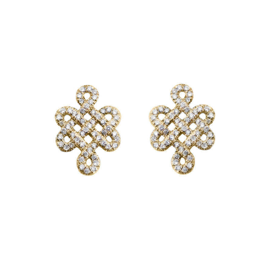 Tibetan symbol of Endless Love, Diamond Stud Earrings