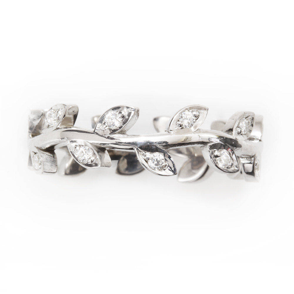 Leaves crown wedding ring