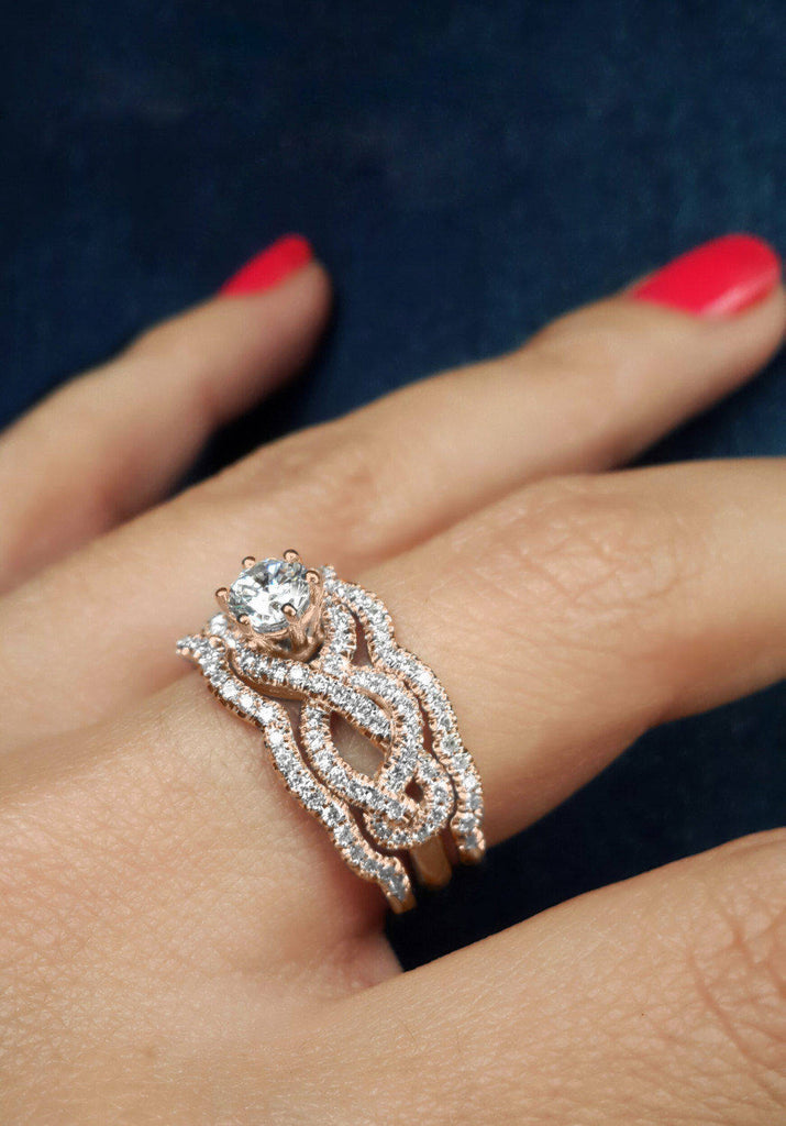 Infinity Diamond Unique Engagement Three Ring Set - sillyshinydiamonds