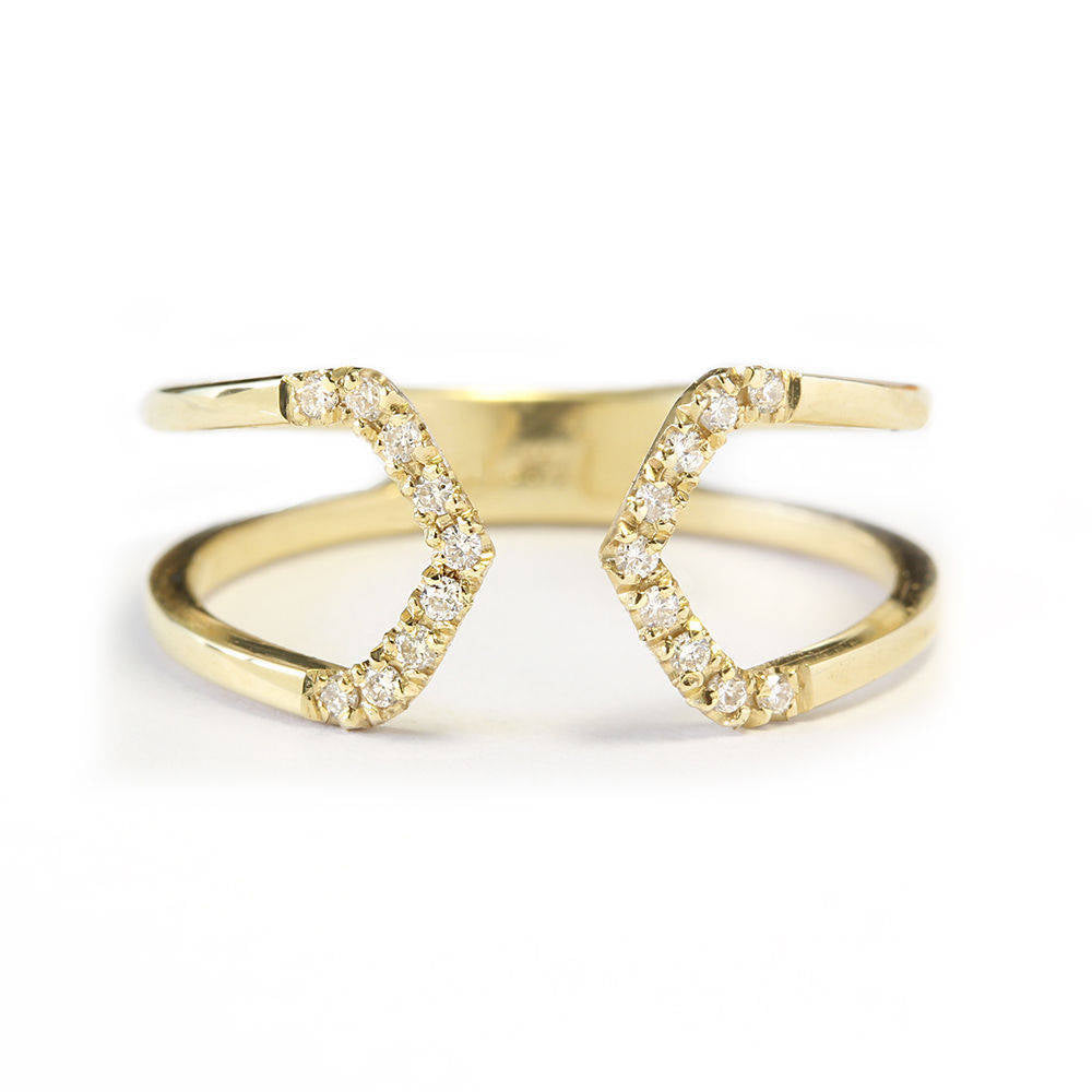 Tapered Diamond Cuff Ring