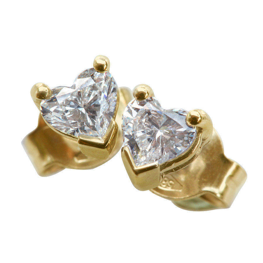 Diamond Heart Stud Earrings - sillyshinydiamonds