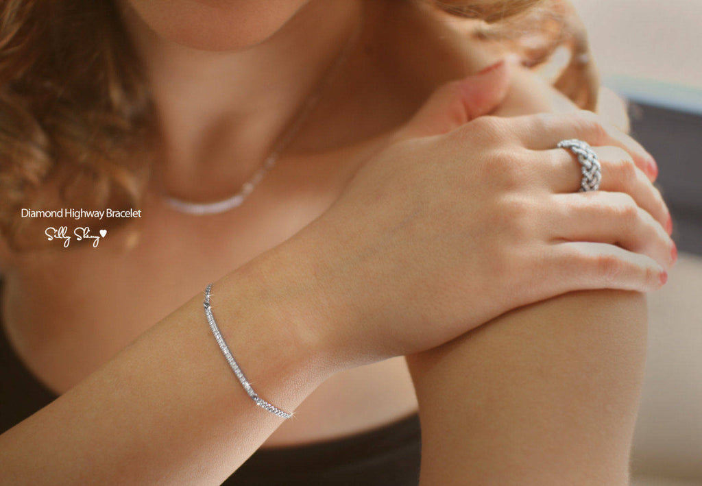 Diamond Bar Bracelet - sillyshinydiamonds