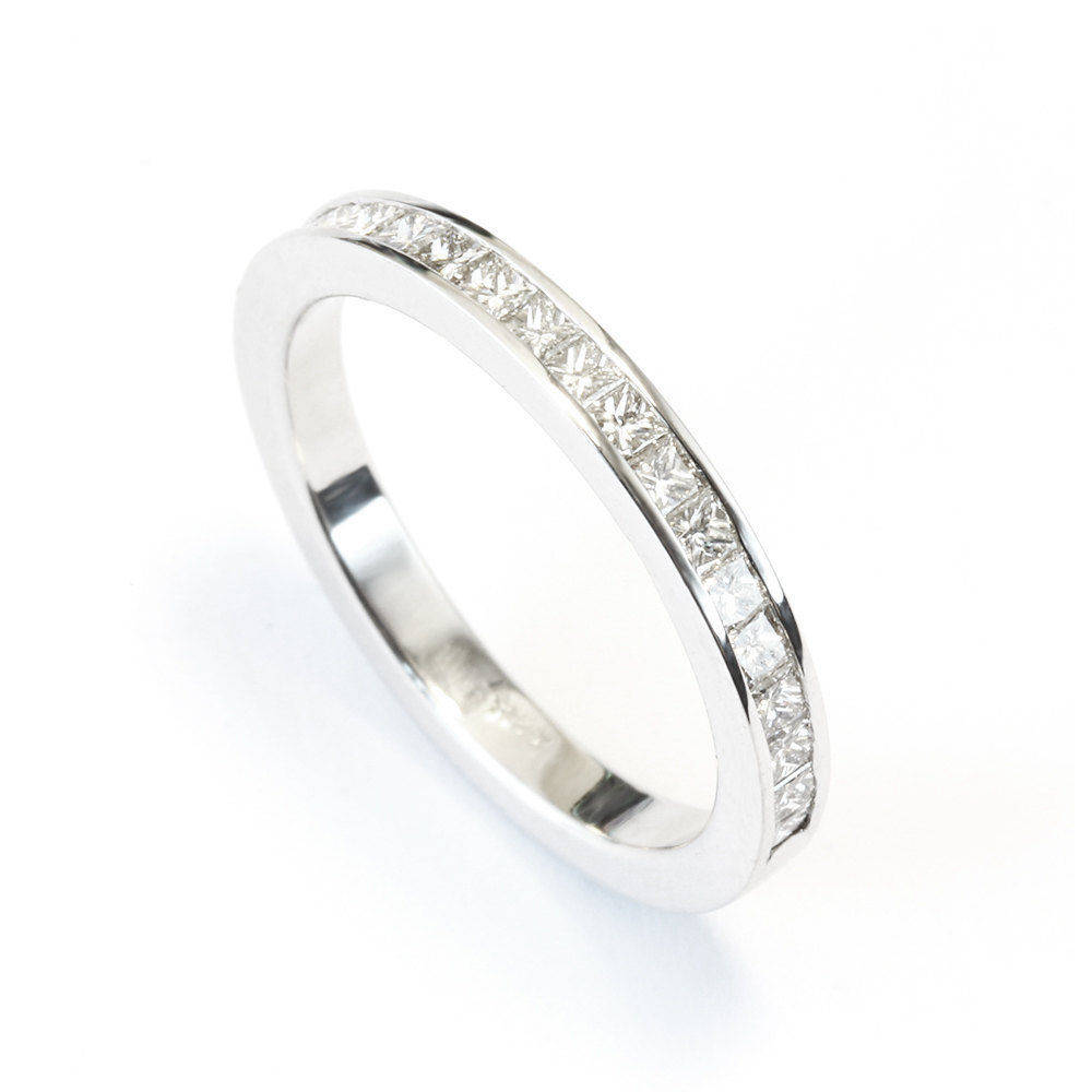 Princess Square Diamonds, Channel Setting Unique Wedding Band