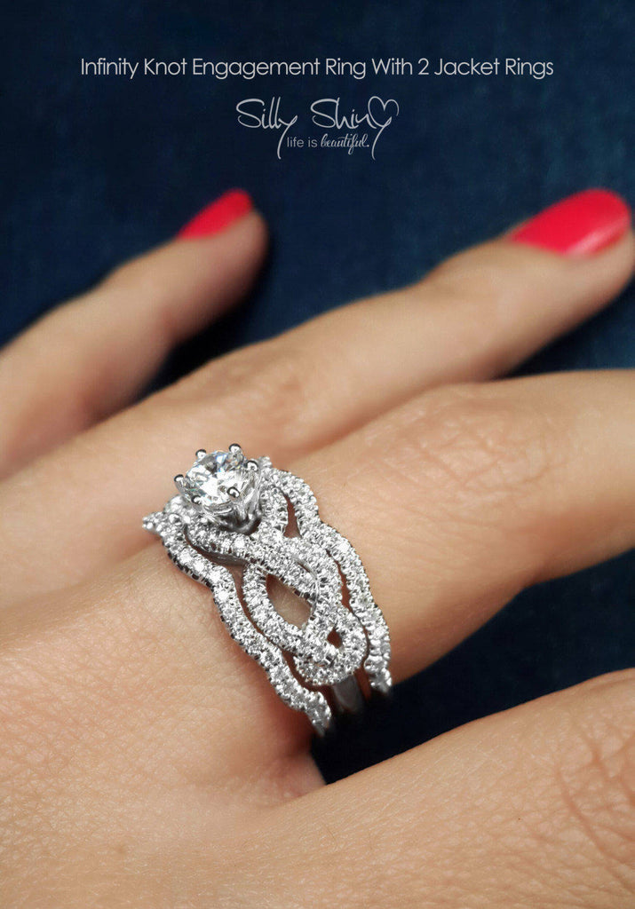 Infinity Knot Unique Engagement Three Rings Set - sillyshinydiamonds