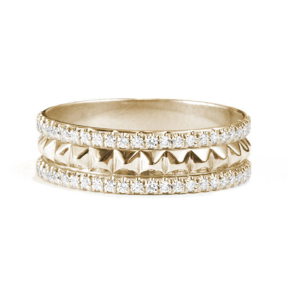 Double Eternity Gold Pyramids & Diamonds Band - sillyshinydiamonds