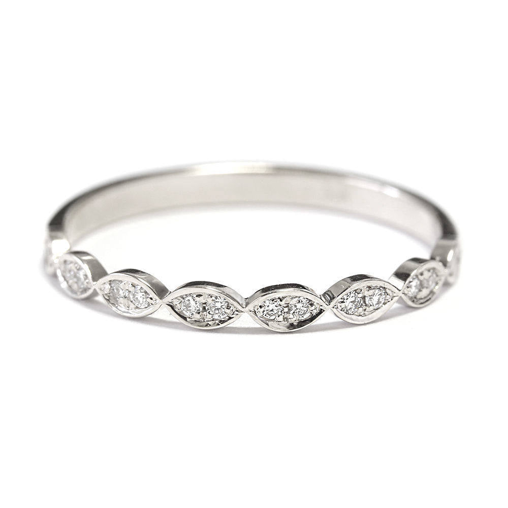 Dainty Marquise 0.12 Ct  diamond Wedding Ring - sillyshinydiamonds