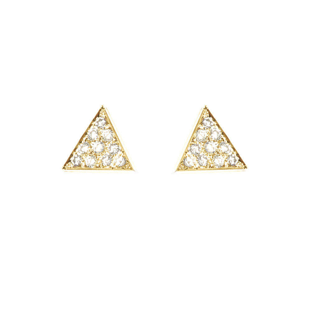 Triangle Diamond Stud Earrings - sillyshinydiamonds