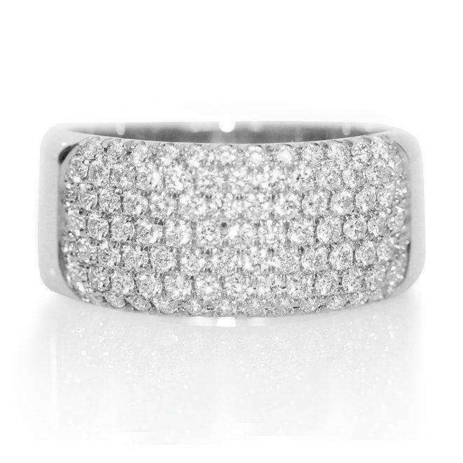 Wide Pave Diamond Band, 7 Rows Anniversary Diamond Ring, 14k Solid Gold