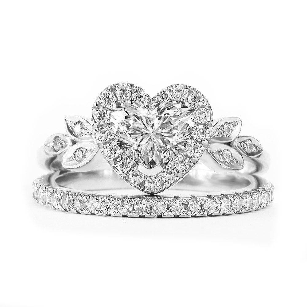 Heart Diamond Love Blossom Unique Engagement Rings Set - sillyshinydiamonds