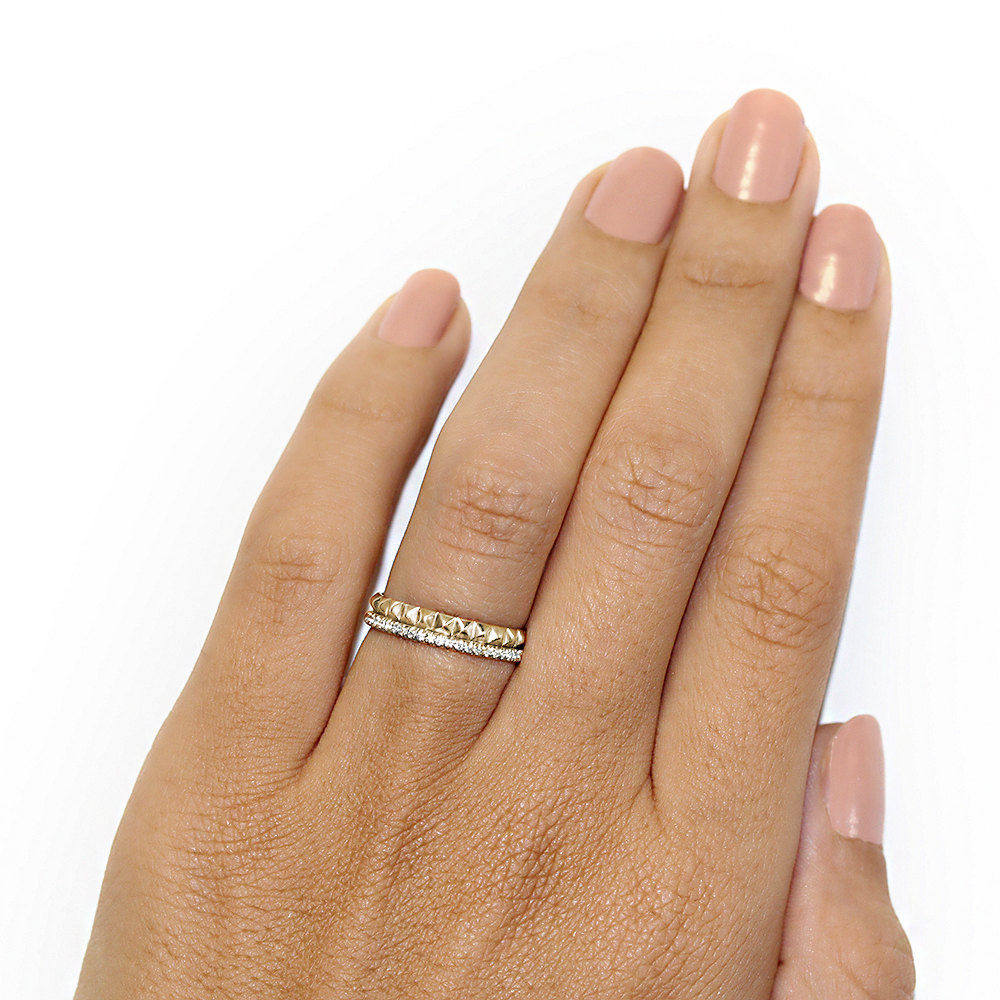 Gold Pyramids Eternity Diamond Ring - sillyshinydiamonds