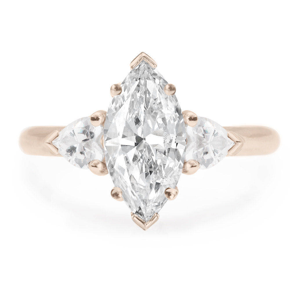 Three stone Marquise & Hearts 1.4 Carat Diamond Engagement Ring