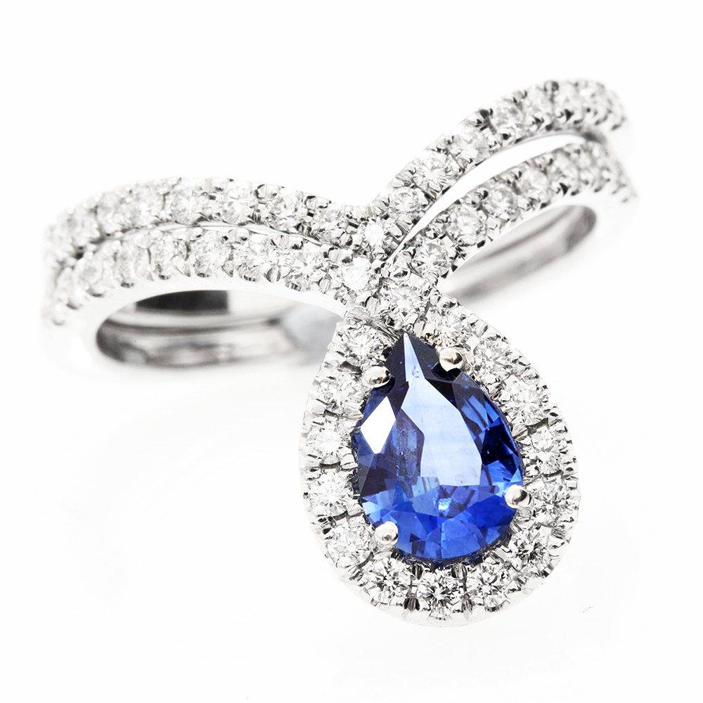 Bliss Blue Sapphire Pear & Diamond Halo Loop Unique Engagement Ring Set - sillyshinydiamonds