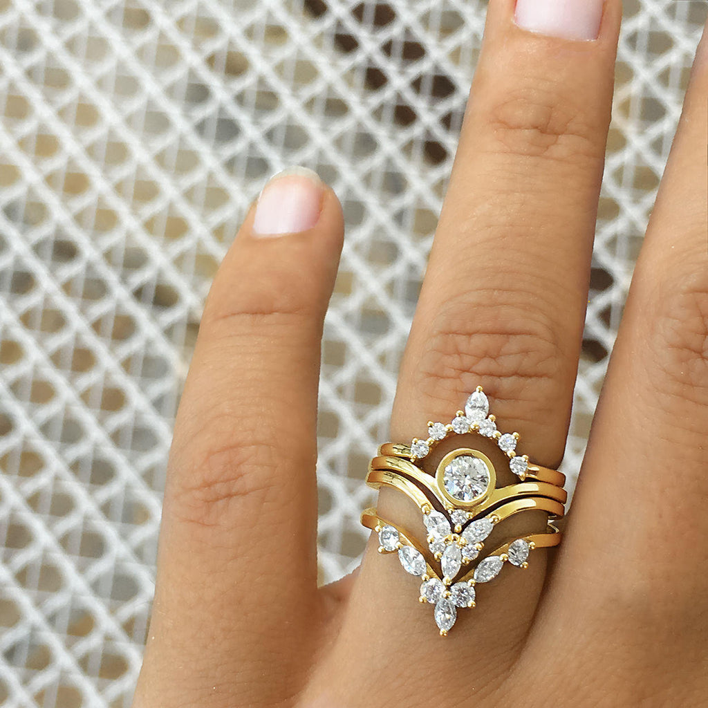 Bindi, Hermes & Cupid - Three Rings Bridal Set - sillyshinydiamonds