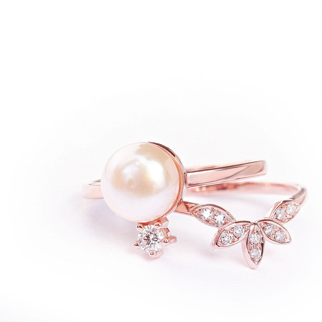 Pearl & Diamond Minimal Promise Rings - sillyshinydiamonds