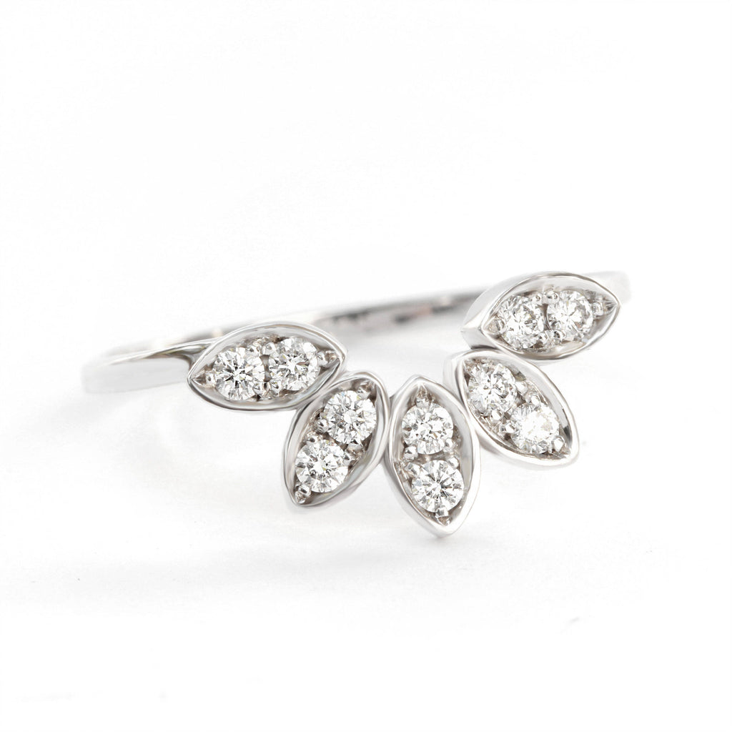 Calathea Leaves Neseting Diamond Wedding Ring - sillyshinydiamonds