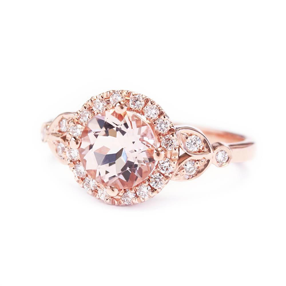 Rome, Morganite & Diamond Halo Unique Engagement Ring - sillyshinydiamonds